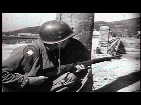 US soldiers place TNT explosive charges and move toward the Nakdong River in Sout...HD Stock Footage