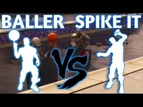 FORTNITE SPIKE IT EMOTE VS  BALLER EMOTE!!!