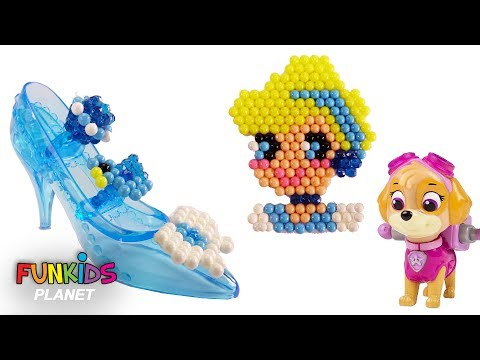 Learn Colors Videos: Paw Paw Patrol Skye Plays With AquaBeads Disney Cinderella Playset