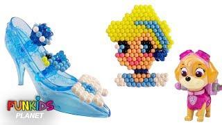 Learn Colors Videos: Paw Paw Patrol Skye Plays With AquaBeads Disney Cinderella Playset