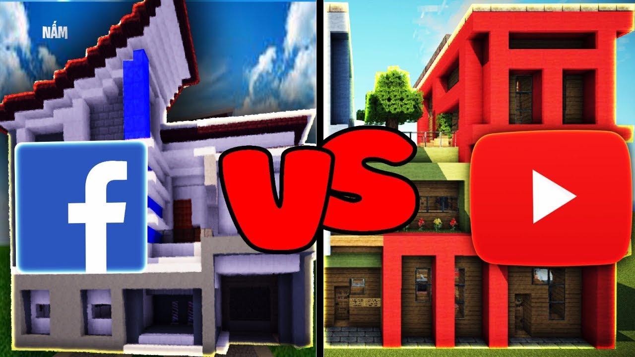 Thử Thách Xây Nhà YouTube và FaceBook Đẹp Nhất Trong Minecraft