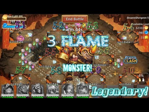 Rockno Legendary! 3flame Insane Dungeon 5(1-10) Gameplay Castle Clash