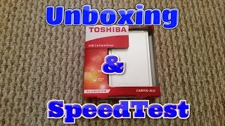 Toshiba 1TB Canvio Alu Portable hard drive unboxing and speed test