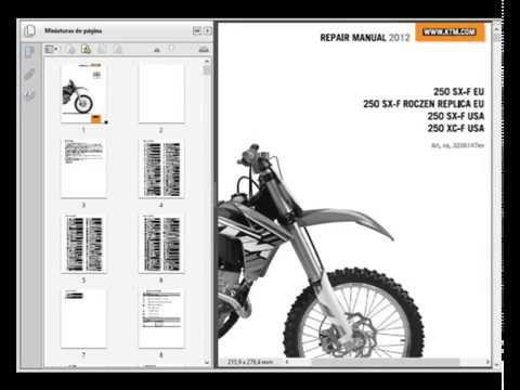 ktm 250 sx f xc f and roczen replica 2012 service. Black Bedroom Furniture Sets. Home Design Ideas