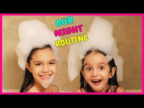 NIGHT ROUTINE - Emily and Evelyn's School Evening and Bedtime Routine - TwoSistersToyStyle