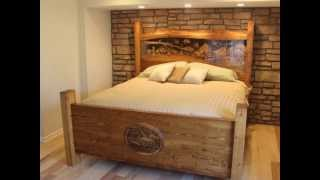 Hand Crafted King Size Bed, Hand Carved By Scott, Lazy River Studio