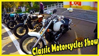 """Classic Motorcycles Show """"OldCarLand"""" 2018. Retro and Vintage Motorcycles 2018."""