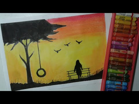Easy Oil Pastels Scenery | Oil Pastel Painting For Beginners | Sunset Scenery