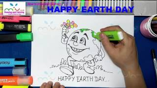 How to draw happy earth day step by step easy