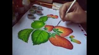 Pintura p/ iniciantes de morangos e folhas
