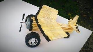 How to make an aeroplane with dc motor, matchstick craft aeroplane