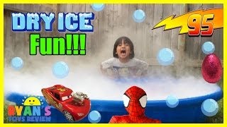 DRY ICE IN KIDDIE POOL Easy science experiment for kids Spiderman doll Disney Cars toys Egg Surprise(East science experiment for kids to do at home fun with dry ice and soap in kiddie pool with lots of