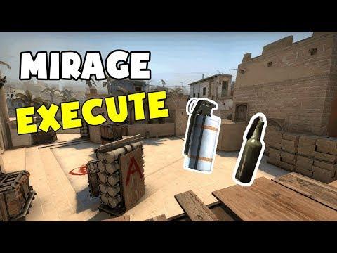 CS:GO TUTORIAL - Mirage Execute A site - MOLOTOV & SMOKE thumbnail