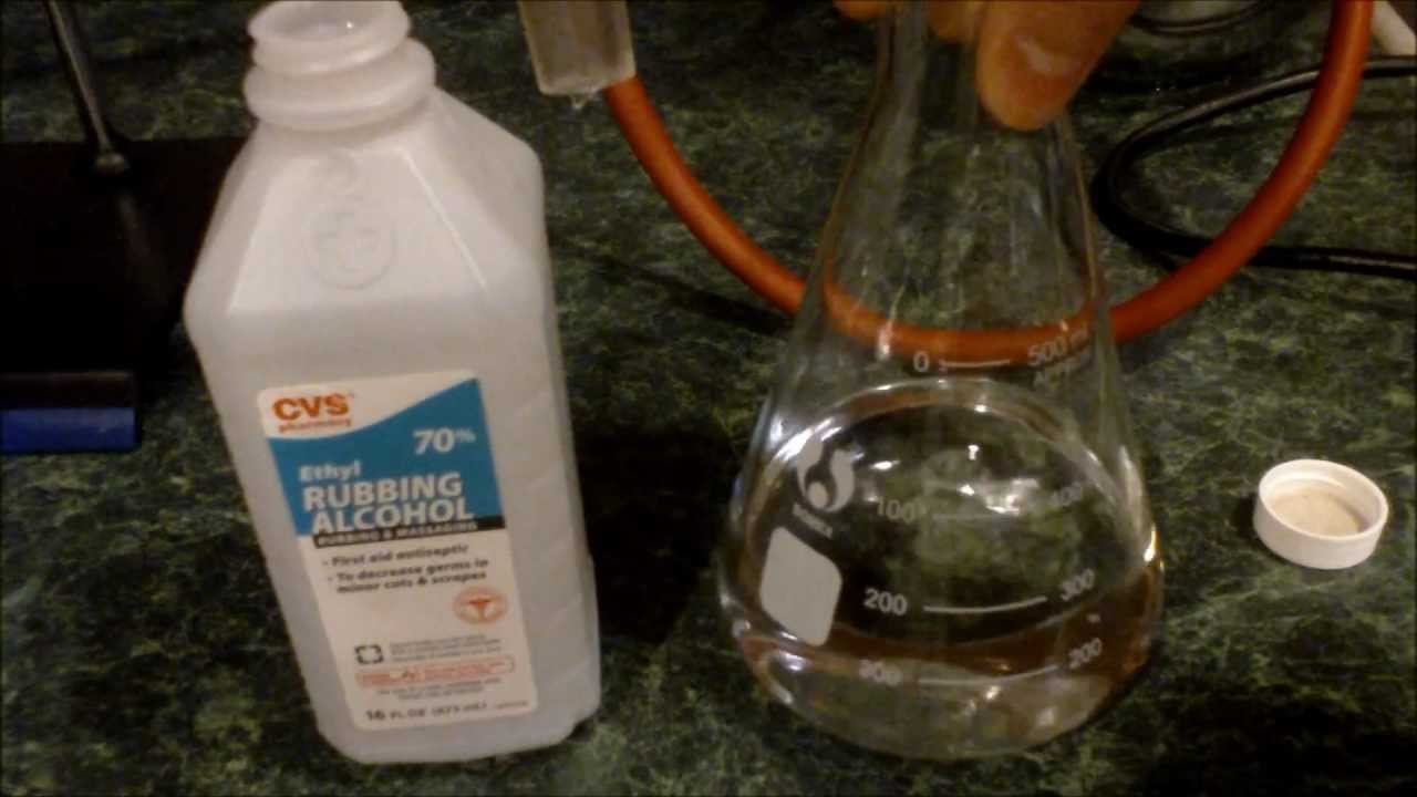 distilling ethanol from ethyl rubbing alcohol youtube