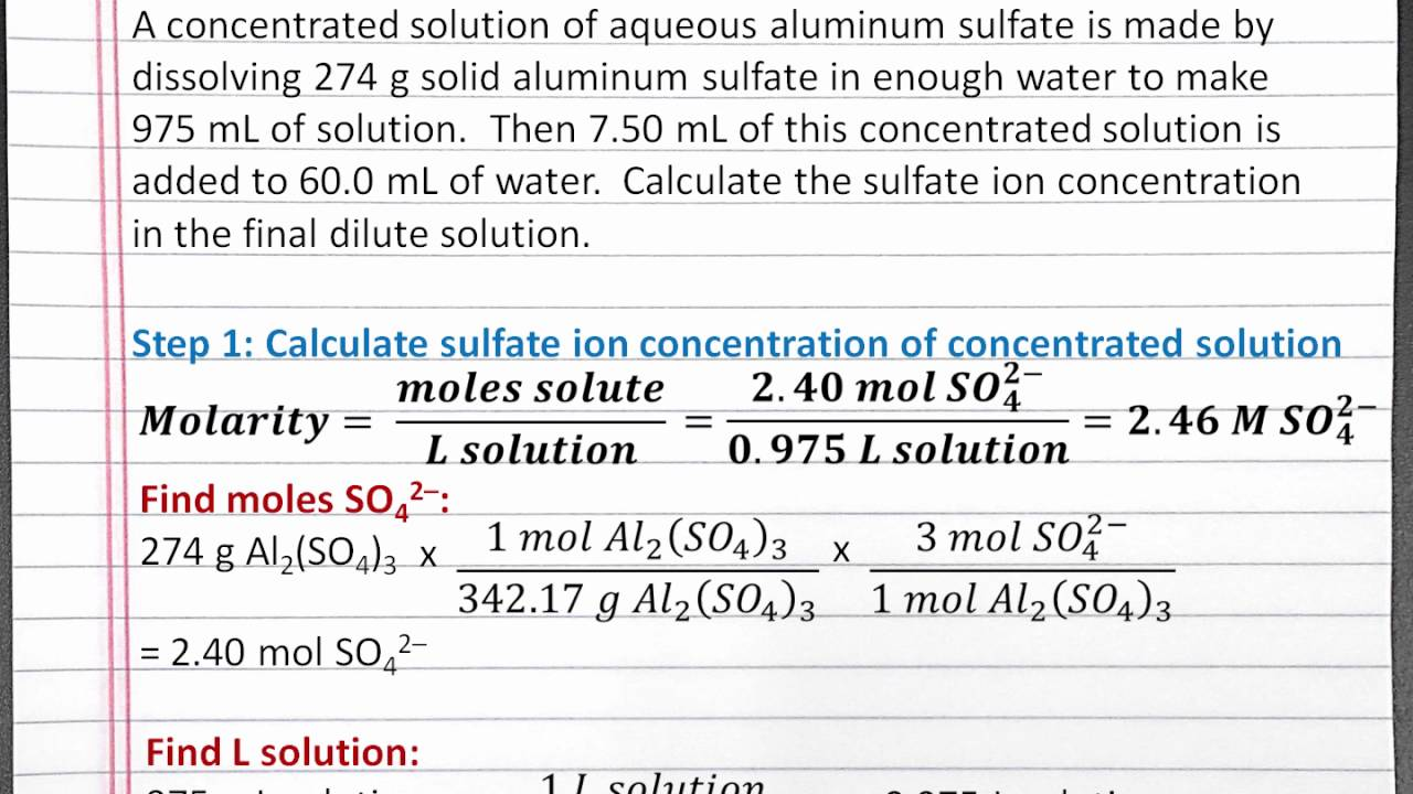 Chemistry 101 Calculating Ion Concentration By Molarity And