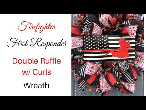 [DOUBLE RUFFLE WREATH] Firefighter and Police LEO First Responder Double Ruffle Wreath (2018)