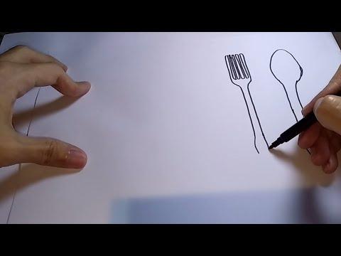 Cara Menggambar Alat Makan Untuk Pemula Youtube