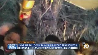 Hot air balloon crash landing caught on video: Balloon crashes moments after couple wed