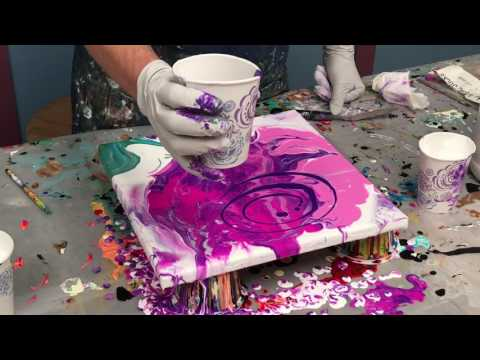 Acrylic Pour Painting: Painting A Flower Using Negative Space