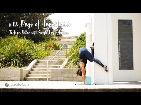 Tuck on Pillar with Single Leg Extension | YogaSlackers 12 Days of Handstands