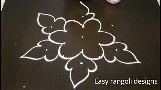 how to draw simple rangoli designs with 5x3 middle dots *beautiful kolam *easy chikkala muggulu