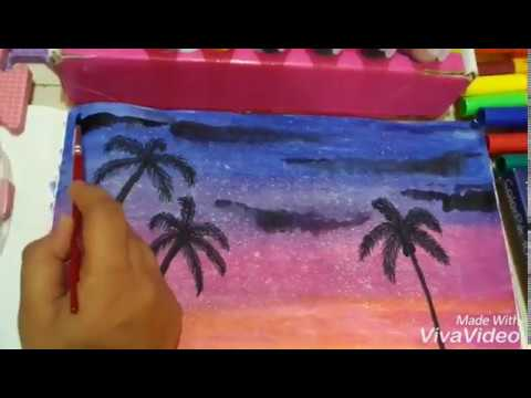 Painting Tutorial for Beginners // Starry Tropical sunset !!!