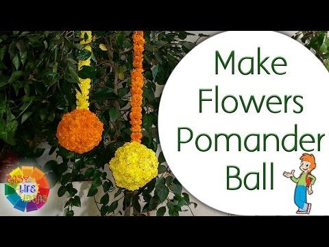 Make Flowers Pomander Ball / Marigold Hanging Ball (From Plastic Ball)
