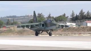 Боевая работа российских Су-25 с АвБ Хмеймим в сопровождении сирийских Миг-29