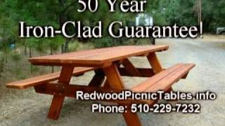 Redwood Picnic Tables - Delivered Sf Bay Area