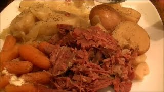 Slow Cooker Corned Beef And Cabbage Using Flat Cut Brisket For St Patrick's Day