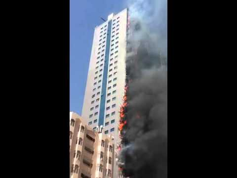 Building on fire@ Sharjah , UAE Dubai