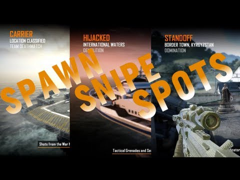 Black Ops 2 Spawn Snipe Spots on Standoff, Hijacked, Carrier (BO2 Guide)