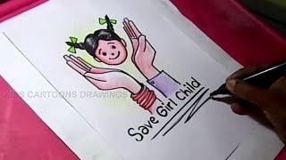How to Draw Save Girl Child poster Drawing