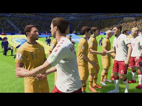 World Cup 2018 - Denmark vs Australia - Group C Full Match Sim (FIFA 18)