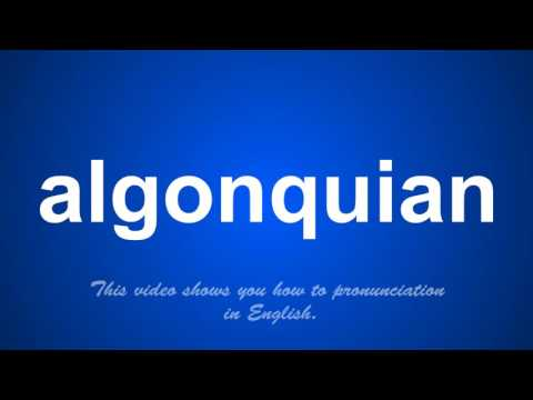 the correct pronunciation of algonquian in English.