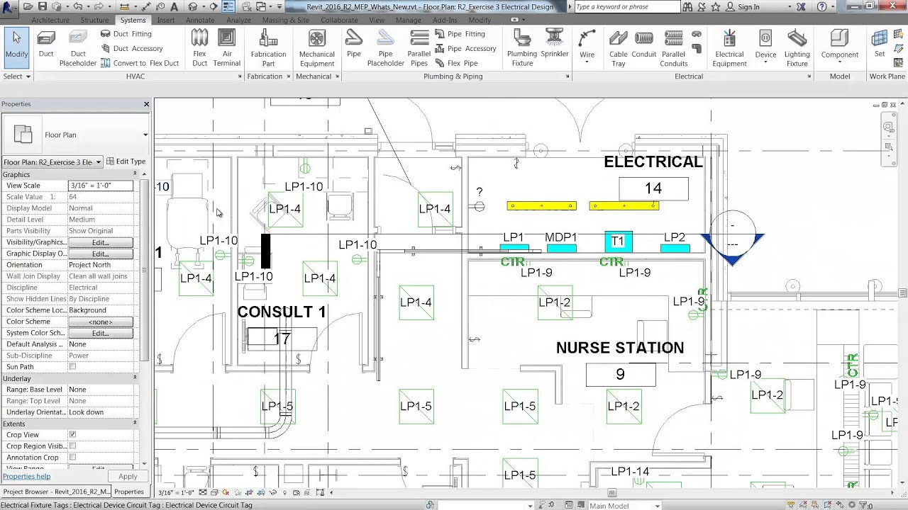 revit electrical power lighting wiring and circuits