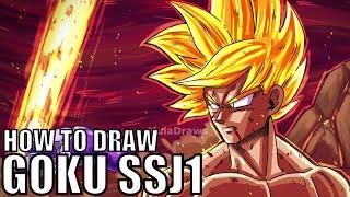 How to Draw Goku Super Saiyan 1 STEP-BY-STEP!