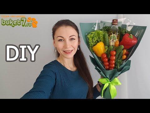 Букет из овощей с бутылкой масла Мастер-Класс. Овощной букет своими руками. Diy Buket7ruTV