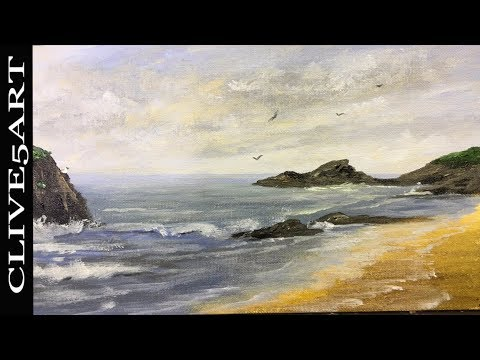 Acrylic Seascape Techniques in acrylics clive5art