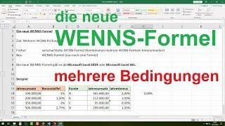 ► Excel Wenn Dann Funktion verschachtelt - WENNS Formel [mehrere Bedingungen, Excel 2019, 365]