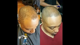 must see how to cut balding thin hair the right way blend session pt 2