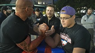 Schoolboy VS Strongman | ARM WRESTLING at Union Square NYC