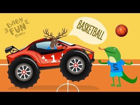 Kids Basketball Cartoon | Animal Cartoons for children | Monster Truck Racing | Baby Fun Traffic