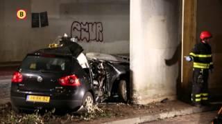 Onderzoek naar auto die tegen viaduct aanreed in Tilburg