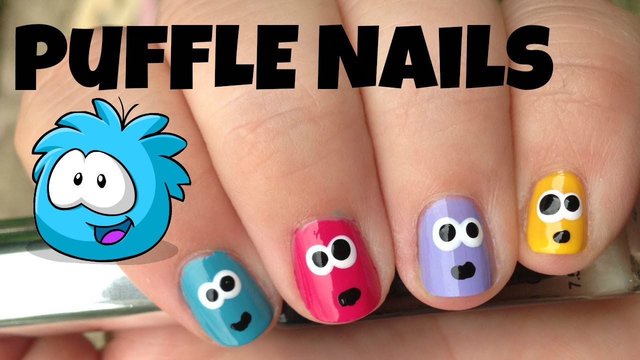 How To Paint Club Penguin Inspired Puffle Nails - YouTube
