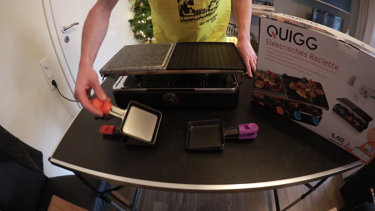 aldi quigg raclette grill details youtube. Black Bedroom Furniture Sets. Home Design Ideas