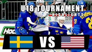 U18 IIHF Quarter Final Game Highlights | Team Sweden vs USA | May 3, 2021