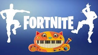 FORTNITE DANCES ON A CAT PIANO AND A DRUM CALCULATOR