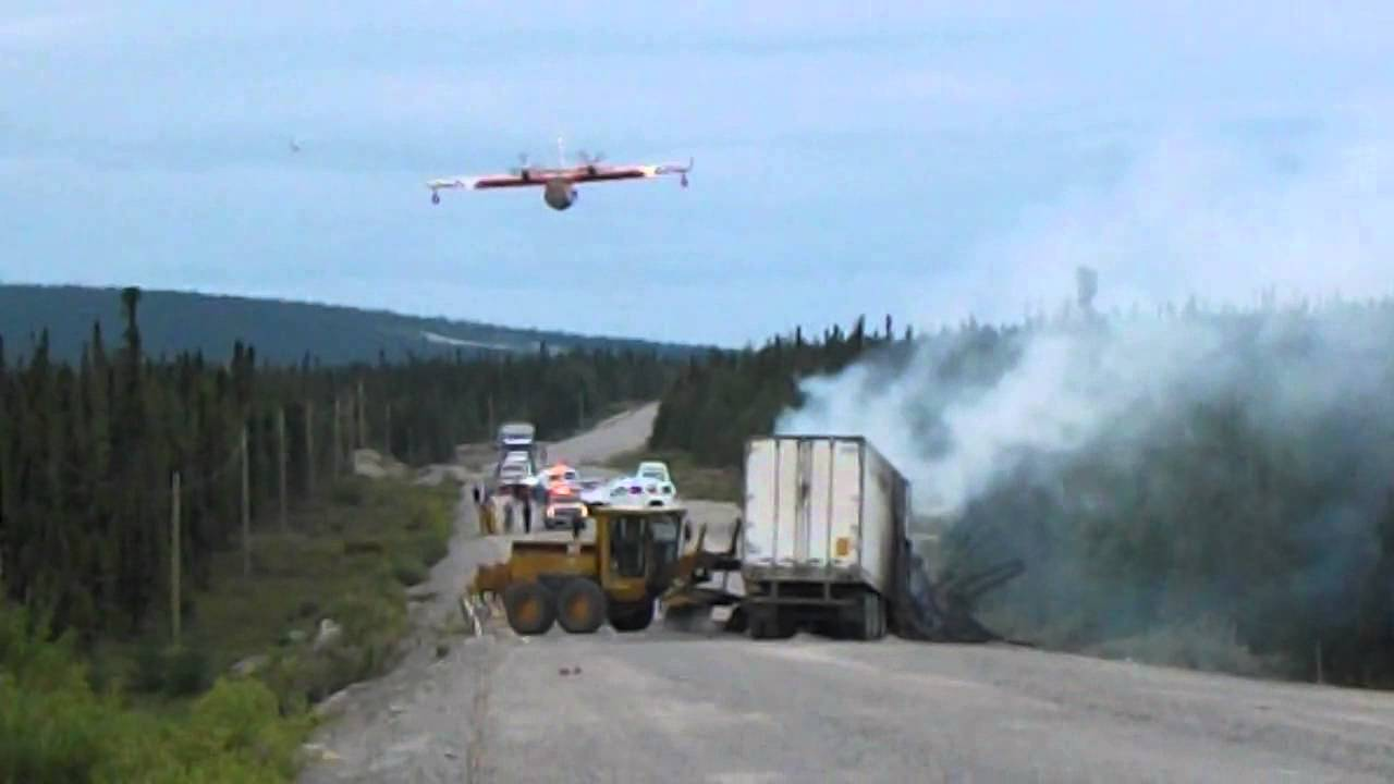 Water bomber responding to transport truck grader accident on labrador highway epic footage youtube