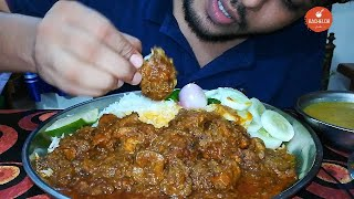 ASMR:EATING SPICY CHICKEN CURRY AND BASMATI RICE